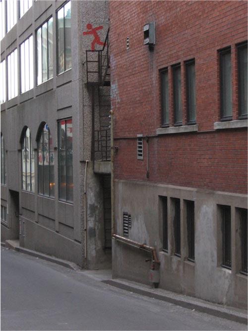 Peinture au pochoir, rue Saint-Jean-Baptise, Montréal, mars 2012